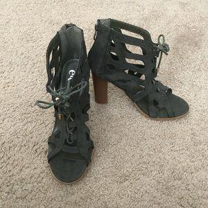 Rue 21 Olive Green Peep Toe Heeled Sandals